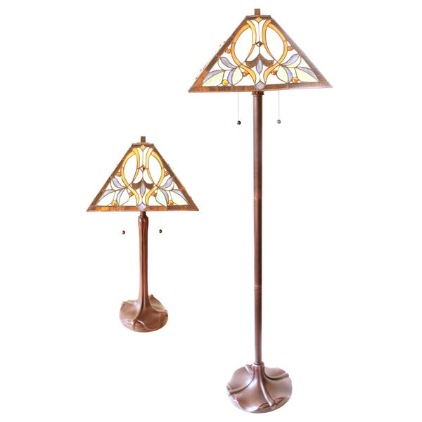 Tiffany Style Floral Table And Floor Lamp Set Free