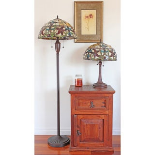 Tiffany style floral table and floor lamp set set of 2 free tiffany style floral table and floor lamp set set of 2 aloadofball Image collections