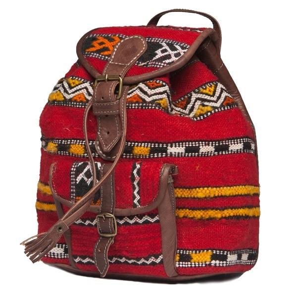 Handmade Leather and Kilim Backpack (Morocco)