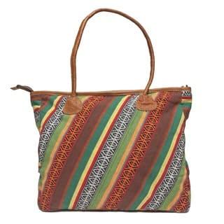 Handmade Stripe Kanti Leather Tote Bag (Nepal)|https://ak1.ostkcdn.com/images/products/8508735/Stripe-Kanti-Leather-Tote-Bag-Nepal-P15793071.jpg?impolicy=medium