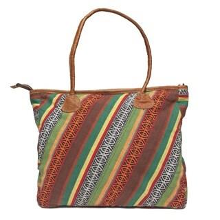 Handmade Stripe Kanti Leather Tote Bag (Nepal)