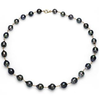 DaVonna 14k Yellow Gold Black Tahitian Pearl Link Necklace (8-10 mm)
