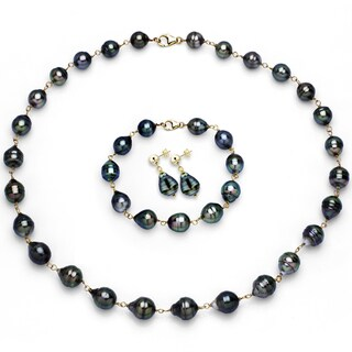 DaVonna 14k Yellow Gold 8-10mm Black Tahitian Pearl Necklace Bracelet Earrings Jewelry Set