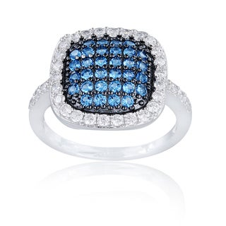 Icz Stonez Sterling Silver Blue, Black and White Cubic Zirconia Ring