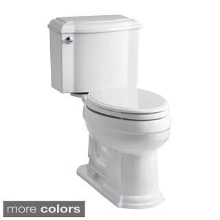 Kohler K-3837 Devonshire Comfort Height Two-Piece Elongated 1.28 GPF Toilet With AquaPiston Flush Technology, Less Seat
