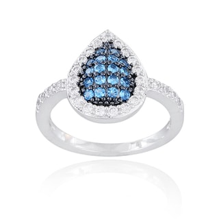 Icz Stonez Sterling Silver Blue, Black and White Cubic Zirconia Teardrop Ring