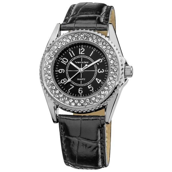 Vernier Women's Genuine Crystal Stone Coin Edge Bezel Black Genuine Leather Strap Quartz Watch