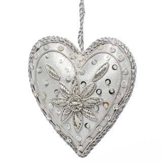Handcrafted Beaded Shiny Silver Heart Ornament , Handmade in India