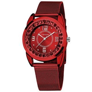 Vernier Women's Slim Red Crystal Stone Dial Mesh Strap Watch