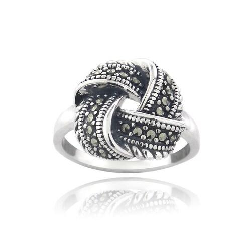 Glitzy Rocks Sterling Silver Marcasite Love Knot Ring