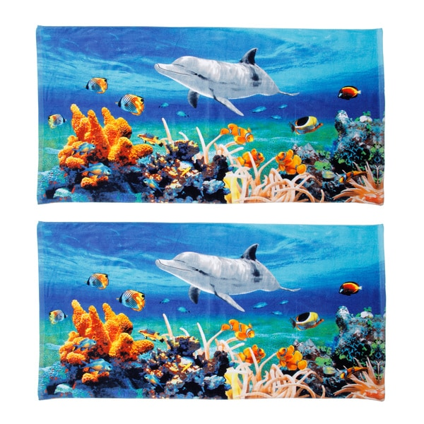 Shop Dolphin Coral Reef Beach Towel (Set Of 2)