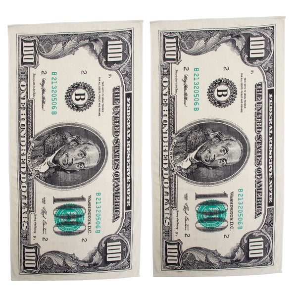 Shop Hundred Dollar Bill Printed Beach Towel Set Of 2