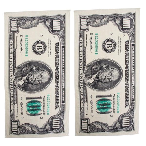 Hundred Dollar Bill Printed Beach Towel Set of 2