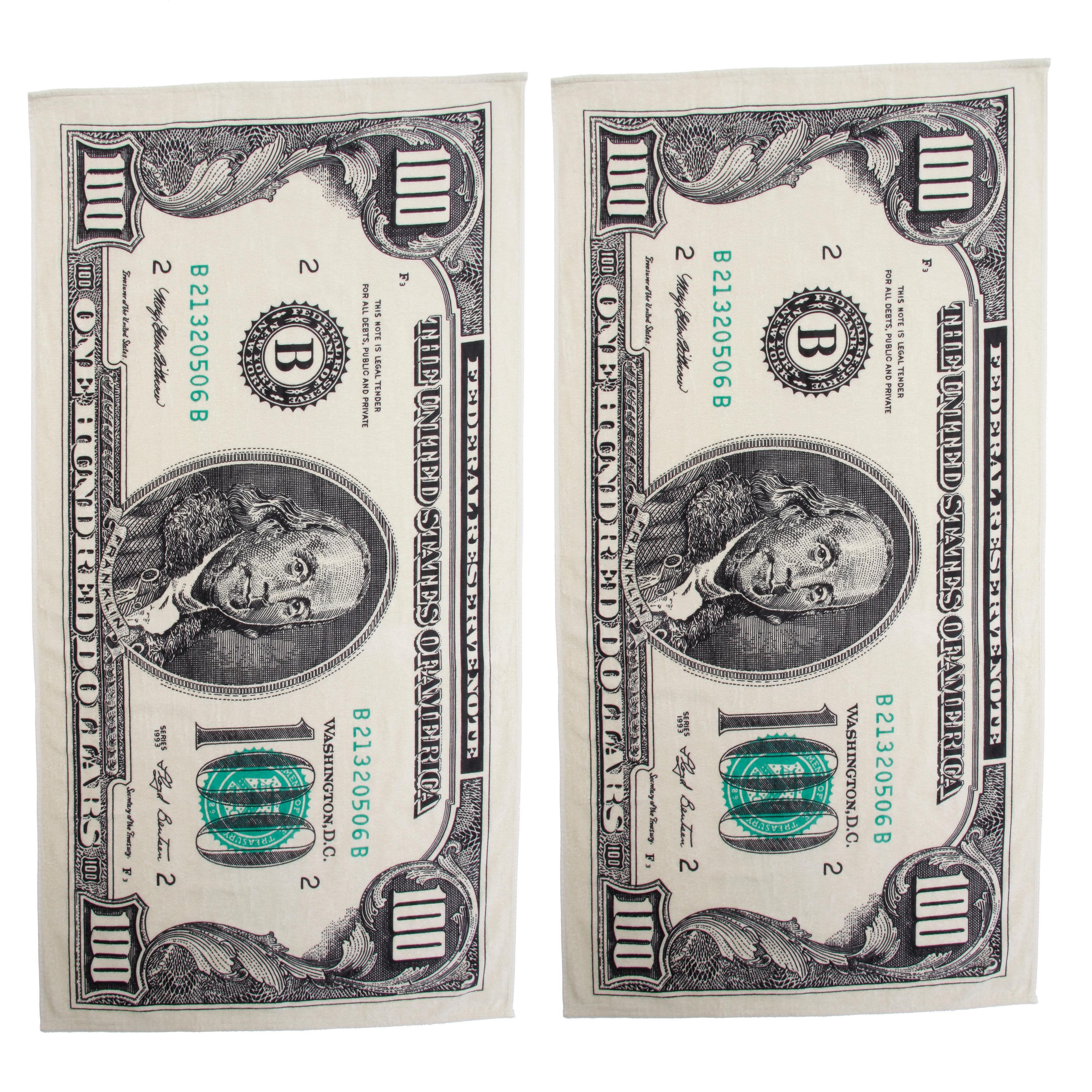 Kaufman Hundred Dollar Bill Printed Beach Towel Set of 2 ...
