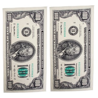 Hundred Dollar Bill Printed Beach Towel Set of 2