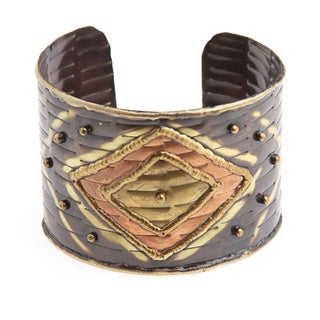 Handmade Brass/ Copper Diamond Design Cuff Bracelet (India)