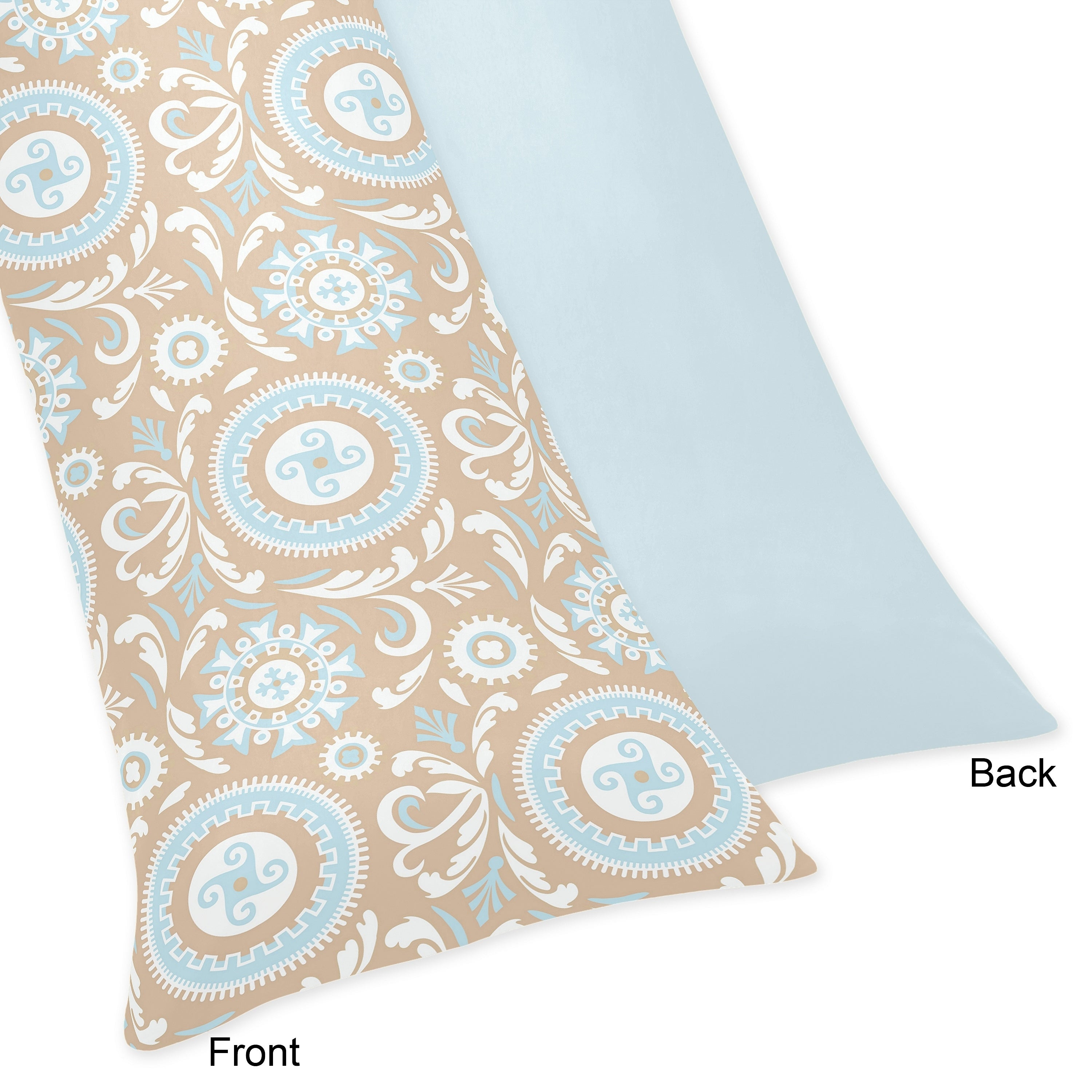 Shop Blue And Taupe Hayden Full Length Double Zippered Body Pillow