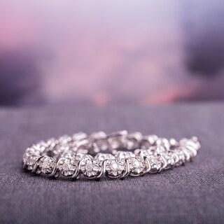 Miadora Sterling Silver 1ct TDW Diamond Tennis Bracelet - Sterling Silver