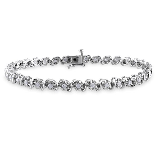 Miadora Sterling Silver 1ct TDW Diamond Tennis Bracelet