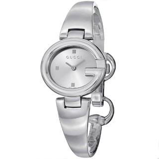 Gucci Women's YA134502 'Guccisima' Silver Dial Stainless Steel Bangle Quartz Watch