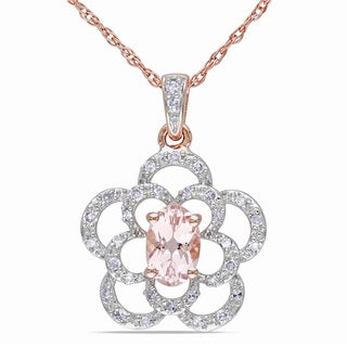 Miadora 10k Rose Gold Morganite and 1/6ct TDW Diamond Necklace (G-H, I1-I2)