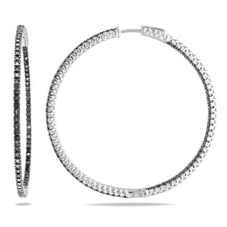 Miadora Sterling Silver 2ct TDW Black Diamond Hoop Earrings
