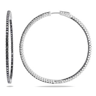 Miadora Sterling Silver 2ct TDW Black Diamond Hoop Earrings