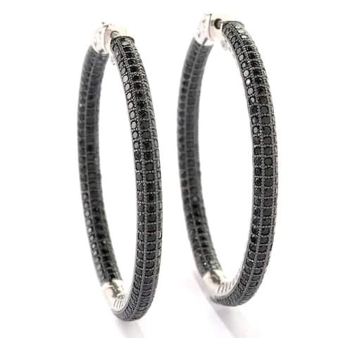 Pinctore Sterling Silver Black Spinel Inside out Mumma Hoop Earrings