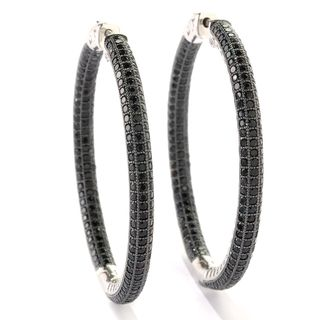 Sterling Silver 6.5 TCW Black Spinel Inside-out 2-inch Big Mumma Hoop Earrings with Clicker Lock