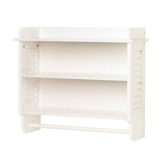 Nantucket Bathroom White 3-Shelf Wall Unit with Towel Bar