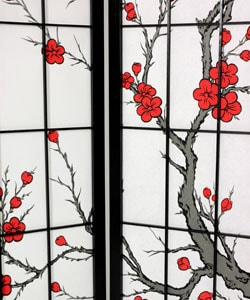 Spruce Wood and Rice Paper Cherry Blossom Shoji Screen (China) - Thumbnail 1