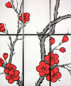 Spruce Wood and Rice Paper Cherry Blossom Shoji Screen (China) - Thumbnail 2
