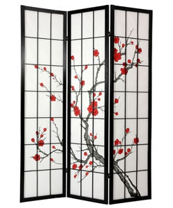 Handmade Spruce Wood and Rice Paper Cherry Blossom Shoji Screen