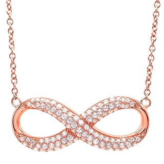 Rose Gold over Silver Cubic Zirconia Infinity Necklace