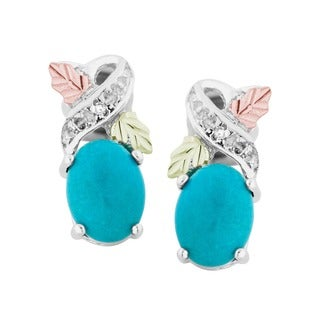 Black Hills Gold and Silver Diamond Turquoise Earrings - Blue