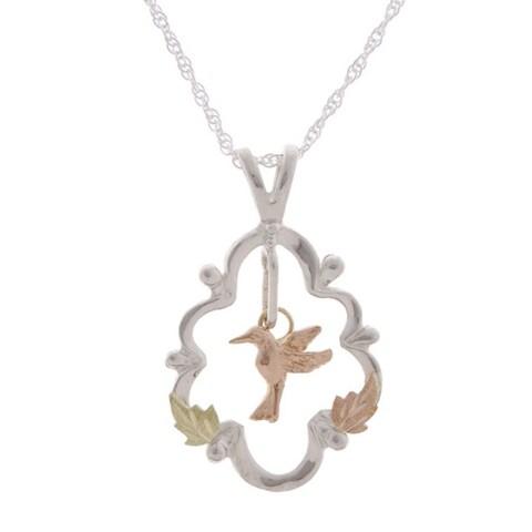 Black Hills Gold and Silver Hummingbird Pendant