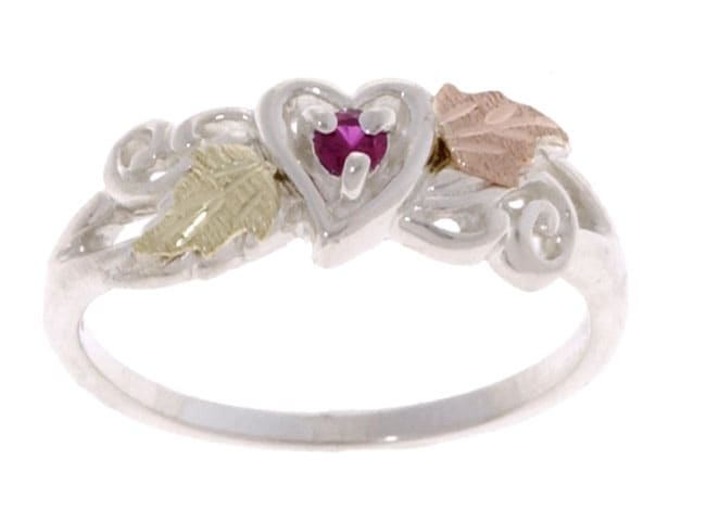 Black Hills Gold and Sterling Silver Created Ruby Heart Ring