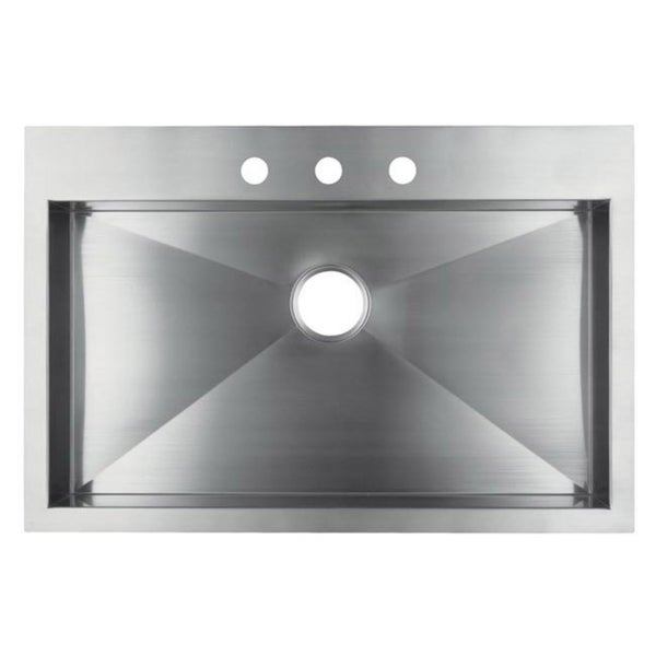 Stainless Steel 33 Inch Single Bowl Topmount Drop In Zero Radius Kitchen  Sink With Combo Accessories   Free Shipping Today   Overstock.com   15800959