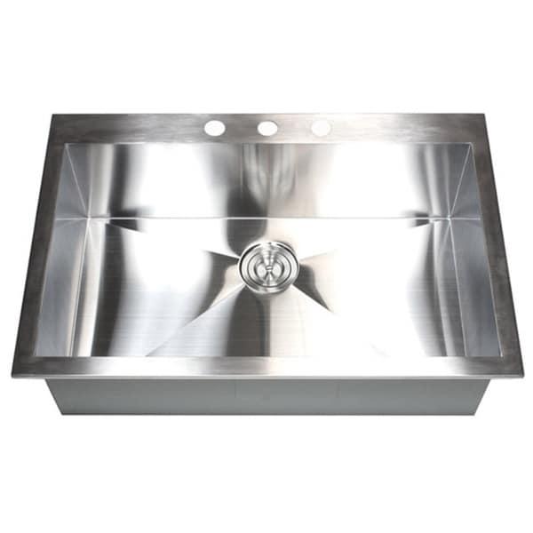 stainless steel 36inch singlebowl topmount dropin zero radius kitchen sink with accessories free shipping today