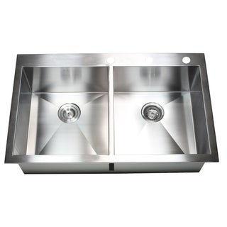 Stainless Steel 36-inch Double-bowl Topmount Drop-in Zero Radius Kitchen Sink with Accessories
