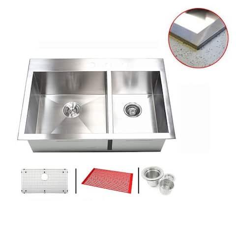 Stainless Steel 33-inch Double-bowl Topmount Drop-in Zero Radius Kitchen Sink with Accessories