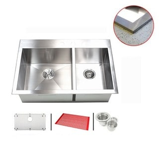 Stainless Steel 33-inch Double-bowl Topmount Drop-in Zero Radius Kitchen Sink with Accessories