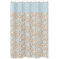 Sweet Jojo Designs Blue and Taupe Hayden Cotton Shower Curtain