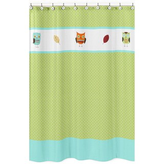 Sweet Jojo Designs Turquoise and Lime Hooty Owl Kids Cotton Shower Curtain