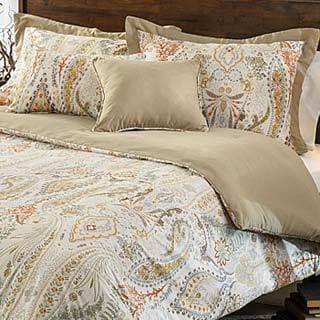 Shop Comosetti Beige Linen Paisley Reversible Cotton 5