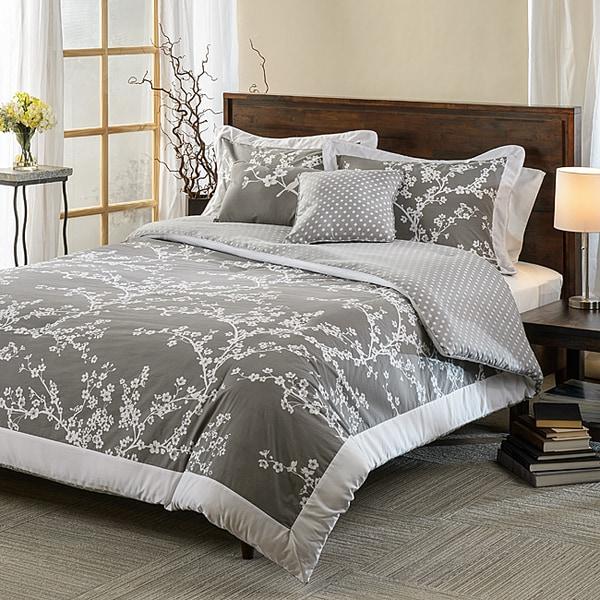 Hanami Grey and White Cotton Reversible 5-piece Comforter Set