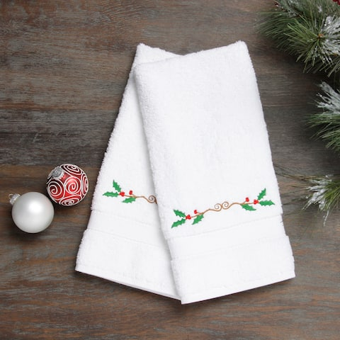 Embroidered Holly Holiday Turkish Cotton Hand Towels (Set of 2)