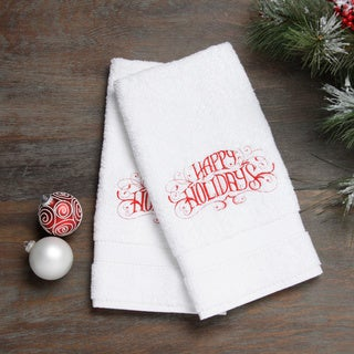 Embroidered Happy Holidays Red Turkish Cotton Hand Towels (Set of 2)|https://ak1.ostkcdn.com/images/products/8522478/Embroidered-Happy-Holidays-Red-Turkish-Cotton-Hand-Towels-Set-of-2-P15805432.jpg?_ostk_perf_=percv&impolicy=medium