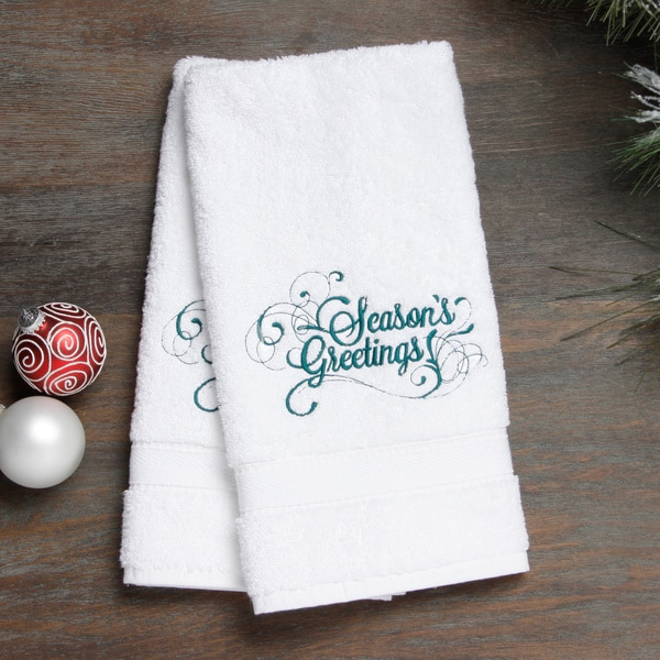 Embroidered Seasons Greetings Holiday Turkish Cotton Hand Towels Set Of 2 Free Shipping On