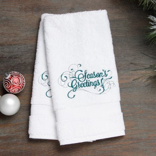 Embroidered Seasons Greetings Holiday Turkish Cotton Hand Towels (Set of 2)